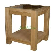 Reclaimed Teak small side Table top glass