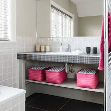 Off-white bathroom with pink and black accents | Bathroom Decorating |  Style at Home