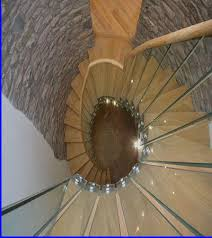 helical oak and glass staircase bespoke glass staircase