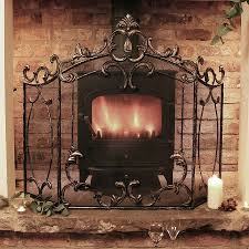 period manor fire guard with matches and holder