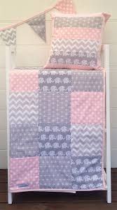 Baby Cot Patchwork Quilt w/ Pink and Grey Elephant Pattern | Baby ... & Baby Cot Patchwork Quilt w/ Pink and Grey Elephant Pattern Adamdwight.com