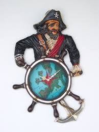 name pirate captain ship wheel clock wall decor