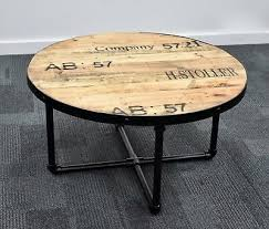 industrial round coffee table living room solid timber retro hand made