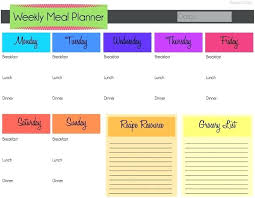 menu planner worksheet weekly meal planner excel weekly meal planning chart weekly food