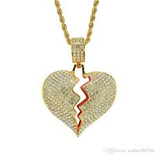 whole broken heart pendant necklace 18k real gold plated alloy inlaid crystal pendant 60cm stainless steel chain gold charms heart necklaces from