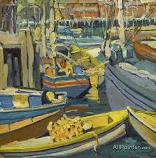 jane peterson paintings for boats at harbor