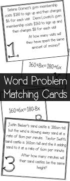 equations with variables on both sides word problem matching cards