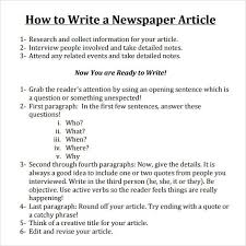 Writing A Newspaper Article Write A Newspaper Article Newspaper Article Template