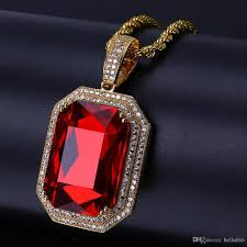 men s hip hop cubic zirconia ruby pendant necklace copper red gem stones pendants necklaces jewelry with stainless steel rope chain