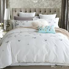 queen size duvet set whole cotton erfly bedding white embroidered bedroom cover king with bed sheet queen size duvet set