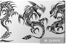 Obraz Iconic Dragons Hranice Rámy Tetování Tribal Vector Sada Na Plátně