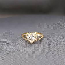 Female Engagement Ring Designs Hot Item Lovely Design 925 Silver Gold Plaited Heart Shape Zirconia Engagement Ring For Female