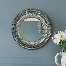 mirror. Silver Feather Mirror Small Mirror