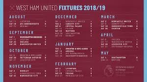west ham 2018 19 fixtures hammers kick off at liverpool