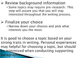 choosing a topic is important and can be the hardest part of an  review background information some topics require pre research