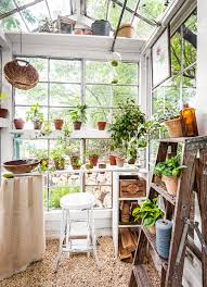 interior of greenhouse made from antique windows