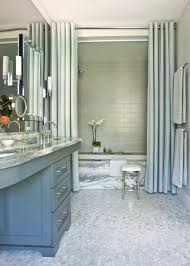 curtains and glass doors transitional bathroom by mark williams design associates