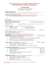 Resume Template for Undergraduate Students