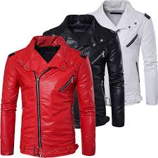 top quality soft pu multi zipper white red leather jacket men motorcycle slim fit male biker