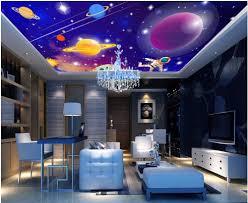Custom Photo 3d Behang Plafond Muurschildering Galaxy Van Kleuren En