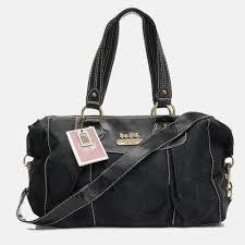 Coach Outlet Legacy Logo Signature Medium Black Luggage Bags