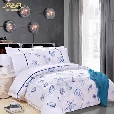 romorus 5 star hotel bedding set 100 cotton stain 60s king queen size white blue seas duvet cover set hotel bed linen bedding comforter grey twin