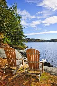 adirondack chairs lake. Simple Chairs Adirondack Chairs At Shore Of Lake Two Rivers Ontario Canada Stock  Photo  And Chairs C