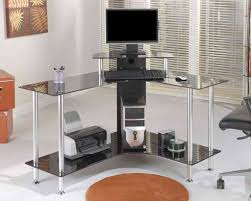 curved stainless steel based computer desk with black glass shelf and top placed on white marble amusing home computer