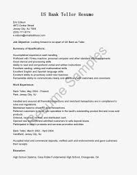 Resumes For Bank Bank Teller Cover Letter With No Experience Thevillas Co With Bank