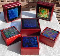 dichroic fused glass tiles on wooden box lids art glass gift for your graduate
