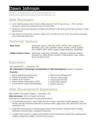 Cover Letter For Web Developer Entry Level Sample Resume For An