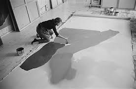 american abstract expressionist painter helen frankenthaler 1928 2016 at work on a large