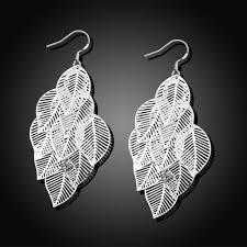 sterling silver dangling leaves chandelier earrings