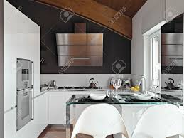 Attic Kitchen Modern Kitchen In The Attic Room With Wood Ceiling Stock Photo