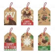 Small Picture Set Of 2017 Chinese New Year Gift Tags stock vector art 614237954