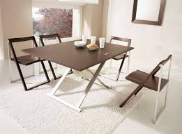 chic cream interior contemporary folding dining table white rug image