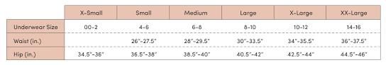 Underwear Size Chart Zist Everywhere