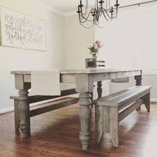 diy woodworking project chunky farmhouse table made using legs from design 59 furniture found on etsy
