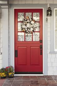 front door with window. Custom Curtains Can Add To The Appearance Of Your Front Door. Door With Window
