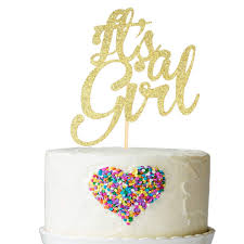 Amazoncom Its A Girl Cake Topper Gold Glitter Girl Baby Shower