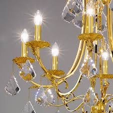 Kristall Kronleuchter Fiorenza Luster 24 Karat Gold Metall 8 Flammig