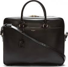 saint lau black leather briefcase