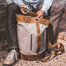 canvas and leather duffle bag