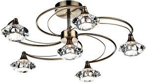 antique brass ceiling light 6 semi flush crystal lights homebase