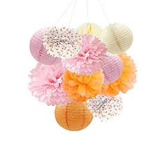 Paper Flower Balls To Hang From Ceiling Nicrolandee Orange Party Hanging Decorations Paper Lanterns Tissue Paper Pom Poms Round Honeycomb Ball For Ceiling Hangings Wedding Bridal Shower