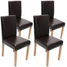 4x Esszimmerstuhl Stuhl Küchenstuhl Littau Leder Braun Helle Beine