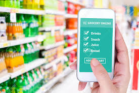Grocery Store Product List Hand Holding Smart Phone With Grocery Shopping Check List Online