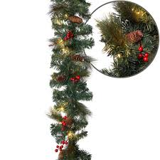Home Depot Lighted Garland Aurio Lighting 9 Ft Pre Lit Led Artificial Christmas Garland With Pinecones And Red Berries And 50 Warm White Lights