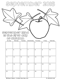 Small Picture Printable September 2016 Calendars Holiday Favorites