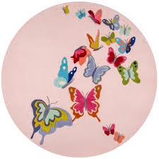 momeni lil mo whimsy erfly pink 5 ft x 5 ft indoor kids round